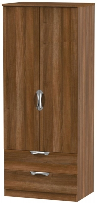 Camden Noche Walnut 2 Door 2 Drawer Wardrobe