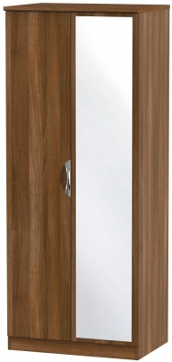 Camden Noche Walnut 2 Door Mirror Wardrobe