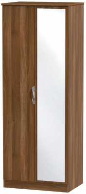 Camden Noche Walnut 2 Door Tall Mirror Wardrobe