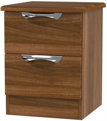 Camden Noche Walnut 2 Drawer Locker Bedside Cabinet