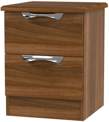 Camden Noche Walnut 2 Drawer Bedside Cabinet