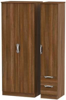 Camden Noche Walnut 3 Door 2 Right Drawer Tall Plain Wardrobe