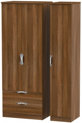 Camden Noche Walnut 3 Door 2 Drawer Tall Wardrobe