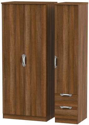 Camden Noche Walnut 3 Door 2 Right Drawer Plain Wardrobe