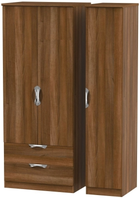 Camden Noche Walnut 3 Door 2 Left Drawer Wardrobe