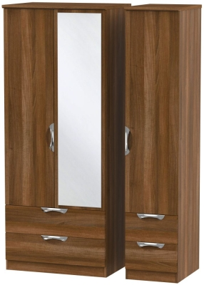 Camden Noche Walnut 3 Door 4 Drawer Mirror Triple Wardrobe