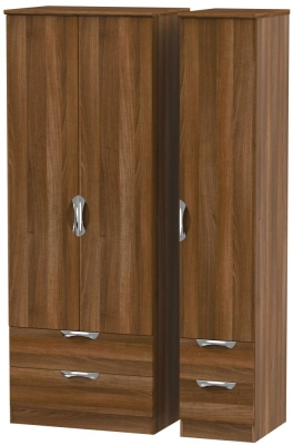 Camden Noche Walnut 3 Door 4 Drawer Tall Triple Wardrobe