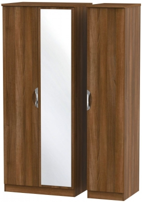 Camden Noche Walnut 3 Door Mirror Triple Wardrobe