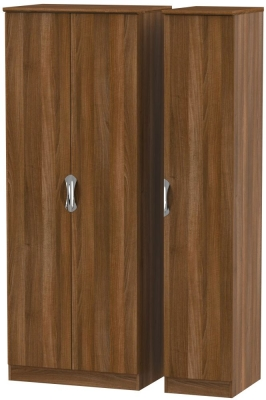 Camden Noche Walnut 3 Door Tall Plain Triple Wardrobe