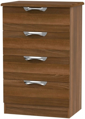 Camden Noche Walnut 4 Drawer Midi Chest