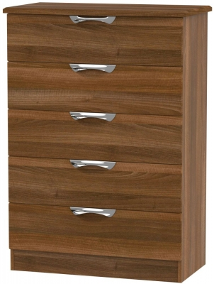 Camden Noche Walnut 5 Drawer Chest