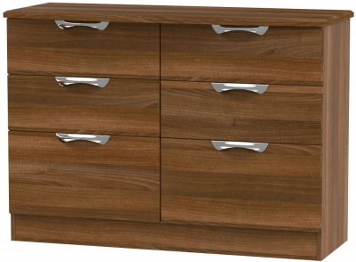 Camden Noche Walnut 6 Drawer Midi Chest