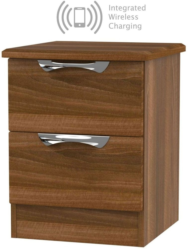 Camden Noche Walnut 2 Drawer Bedside Cabinet with Integrated Wireless Charging