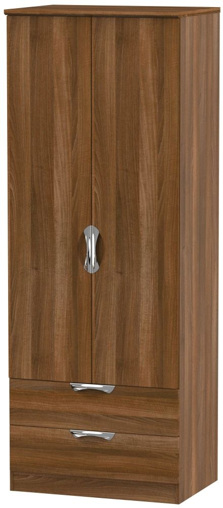 Camden Noche Walnut 2 Door 2 Drawer Tall Double Wardrobe