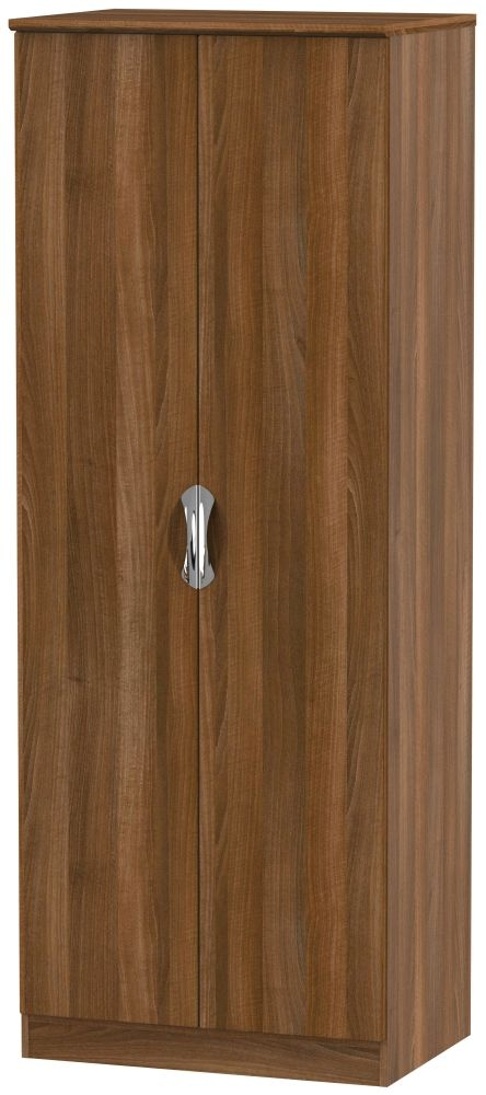 Camden Noche Walnut 2 Door Tall Plain Double Wardrobe