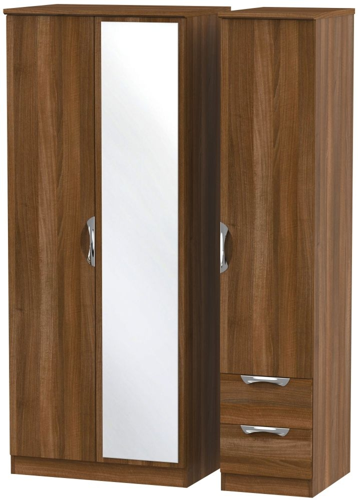 Camden Noche Walnut 3 Door 2 Drawer Mirror Triple Wardrobe