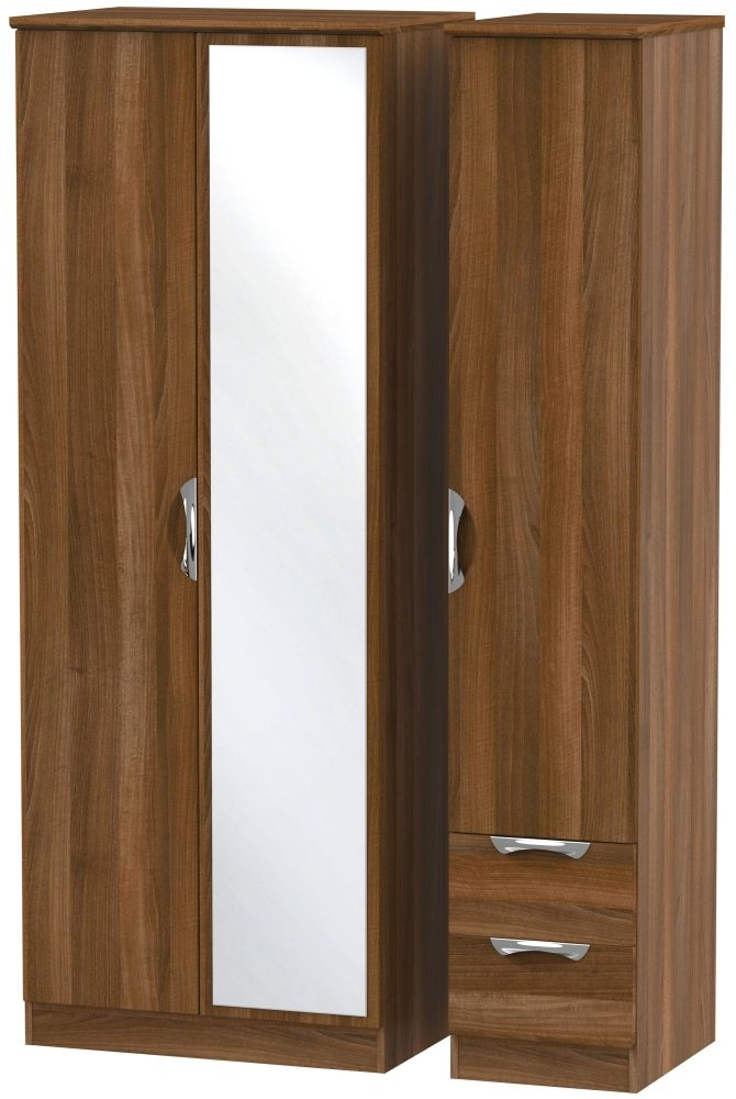 Camden Noche Walnut 3 Door 2 Right Drawer Tall Mirror Wardrobe
