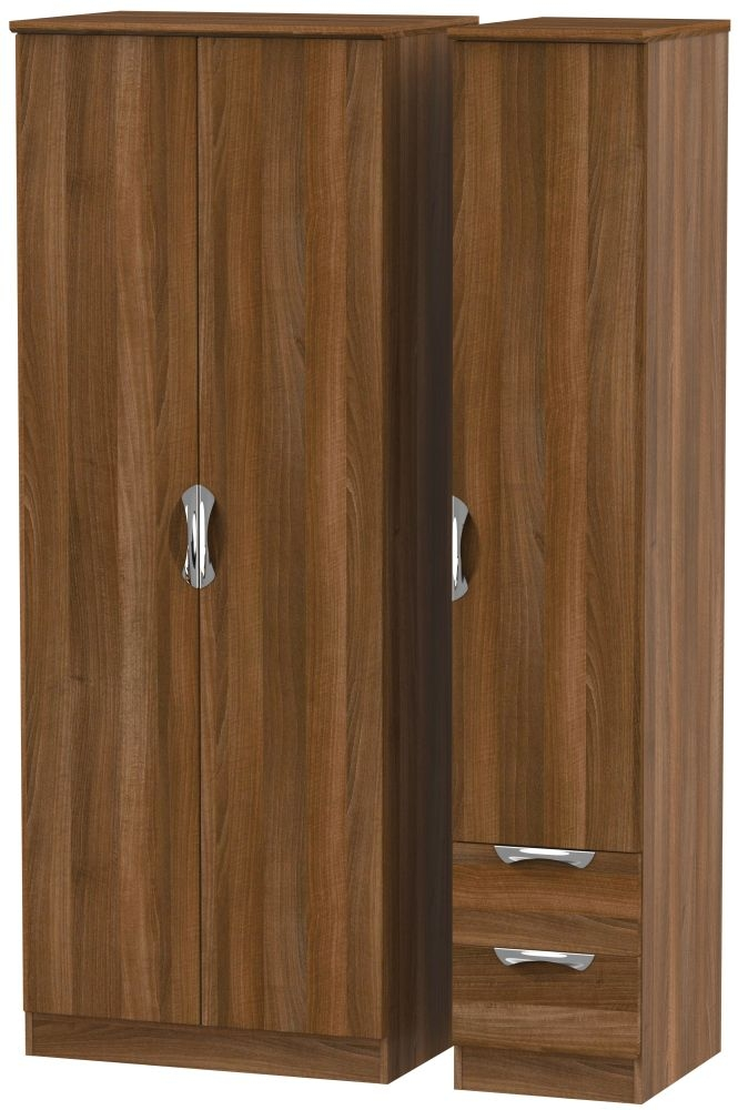 Camden Noche Walnut 3 Door 2 Drawer Tall Plain Triple Wardrobe