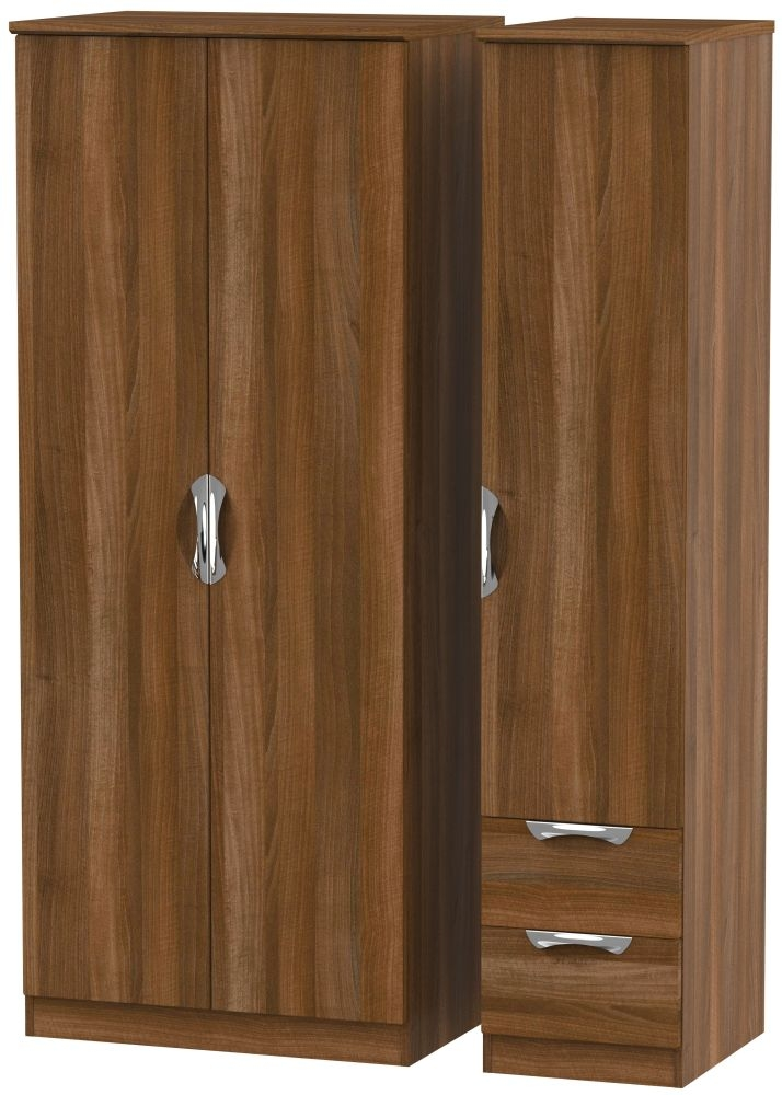Camden Noche Walnut 3 Door 2 Right Drawer Plain Wardrobe