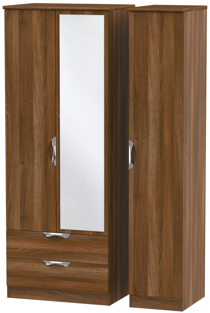 Camden Noche Walnut 3 Door 2 Left Drawer Tall Mirror Triple Wardrobe