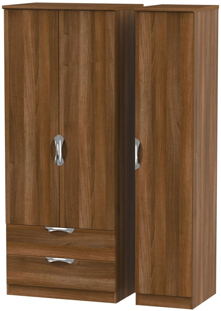 Camden Noche Walnut 3 Door 2 Left Drawer Triple Wardrobe