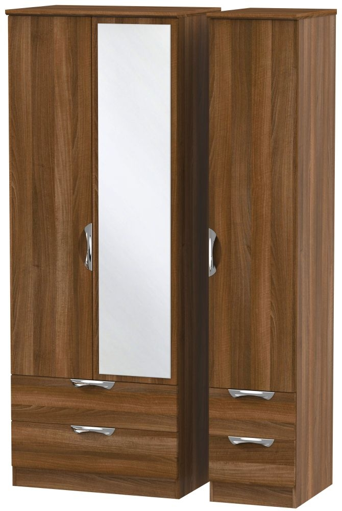 Camden Noche Walnut 3 Door 4 Drawer Tall Mirror Triple Wardrobe
