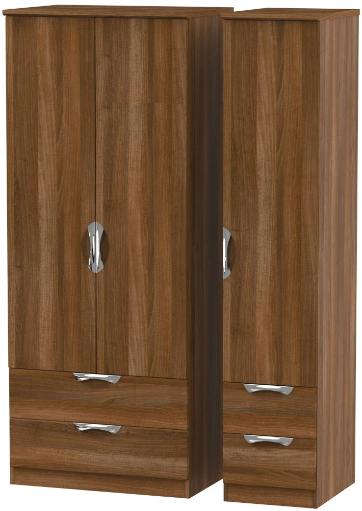 Camden Noche Walnut 3 Door 4 Drawer Wardrobe