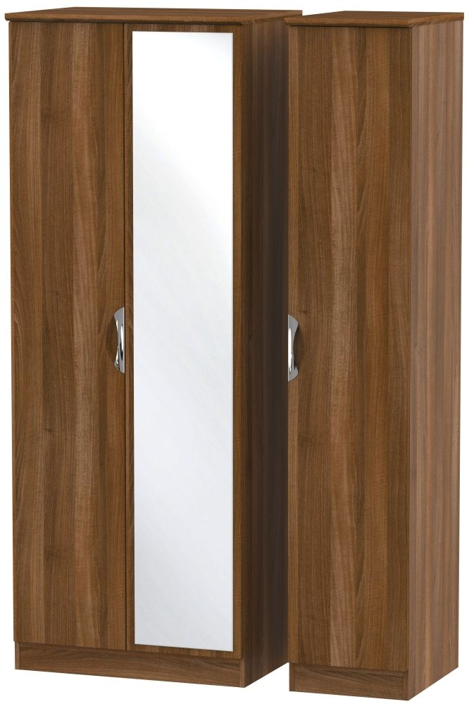 Camden Noche Walnut 3 Door Tall Mirror Wardrobe