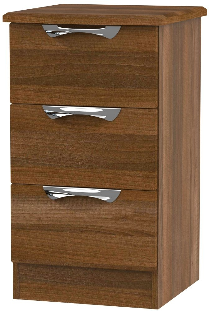 Camden Noche Walnut 3 Drawer Locker Bedside Cabinet