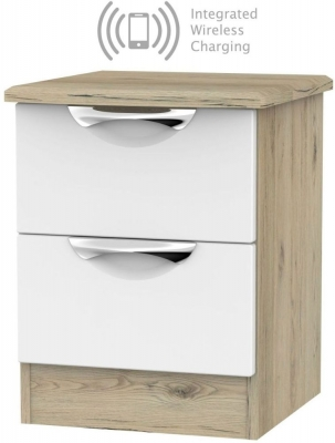 Camden 2 Drawer Bedside Cabinet with Integrated Wireless Charging - White and Bordeaux