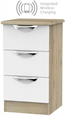 Camden 3 Drawer Bedside Cabinet with Integrated Wireless Charging - White and Bordeaux