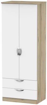 Camden 2 Door 2 Drawer Tall Wardrobe - White and Bordeaux