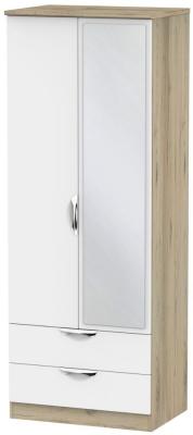 Camden White Matt and Bordeaux 2 Door 2 Drawer Tall Mirror Wardrobe