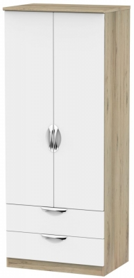 Camden White Matt and Bordeaux 2 Door 2 Drawer Wardrobe