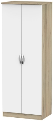 Camden White Matt and Bordeaux 2 Door Tall Double Hanging Wardrobe