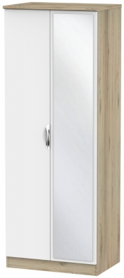 Camden White Matt and Bordeaux 2 Door Tall Mirror Double Wardrobe