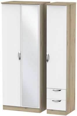 Camden White Matt and Bordeaux 3 Door 2 Drawer Tall Mirror Triple Wardrobe