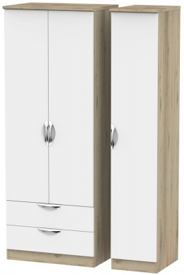 Camden 3 Door 2 Drawer Tall Wardrobe - White and Bordeaux