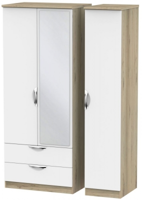 Camden White Matt and Bordeaux 3 Door 2 Left Drawer Mirror Triple Wardrobe