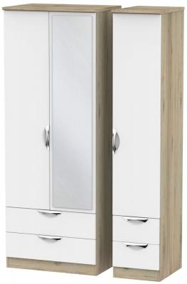 Camden White Matt and Bordeaux 3 Door 4 Drawer Tall Mirror Triple Wardrobe