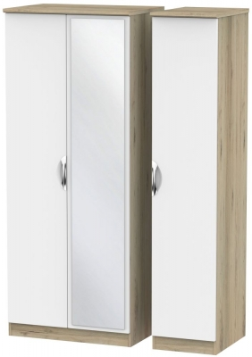 Camden White Matt and Bordeaux 3 Door Mirror Triple Wardrobe