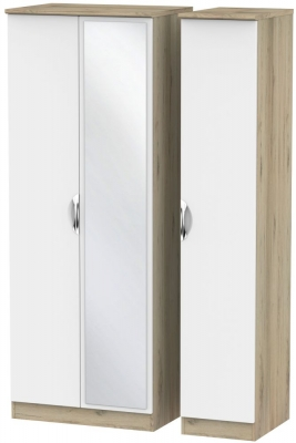 Camden White Matt and Bordeaux 3 Door Tall Mirror Triple Wardrobe