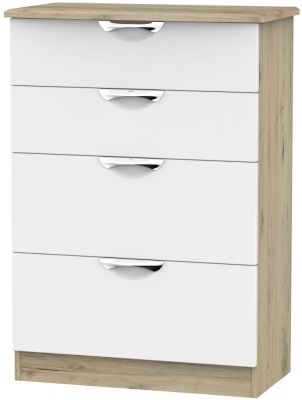 Camden 4 Drawer Deep Chest - White and Bordeaux
