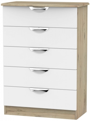 Camden White Matt and Bordeaux 5 Drawer Chest
