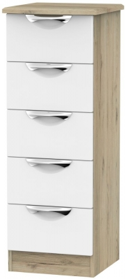 Camden White Matt and Bordeaux 5 Drawer Locker Chest