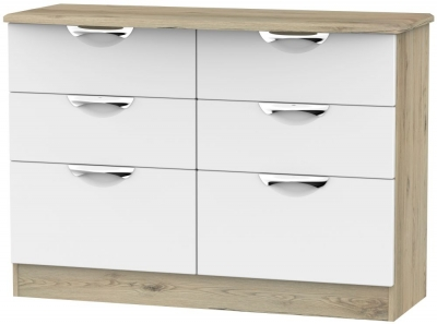 Camden 6 Drawer Midi Chest - White and Bordeaux