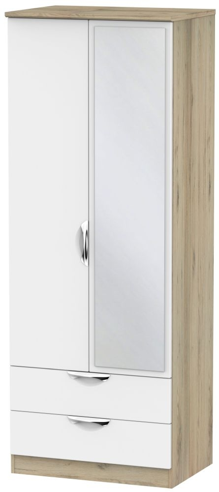 Camden White Matt and Bordeaux 2 Door 2 Drawer Tall Mirror Wardrobe