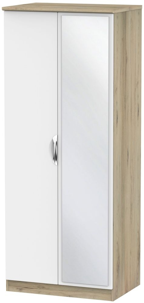 Camden 2 Door Mirror Wardrobe - White and Bordeaux