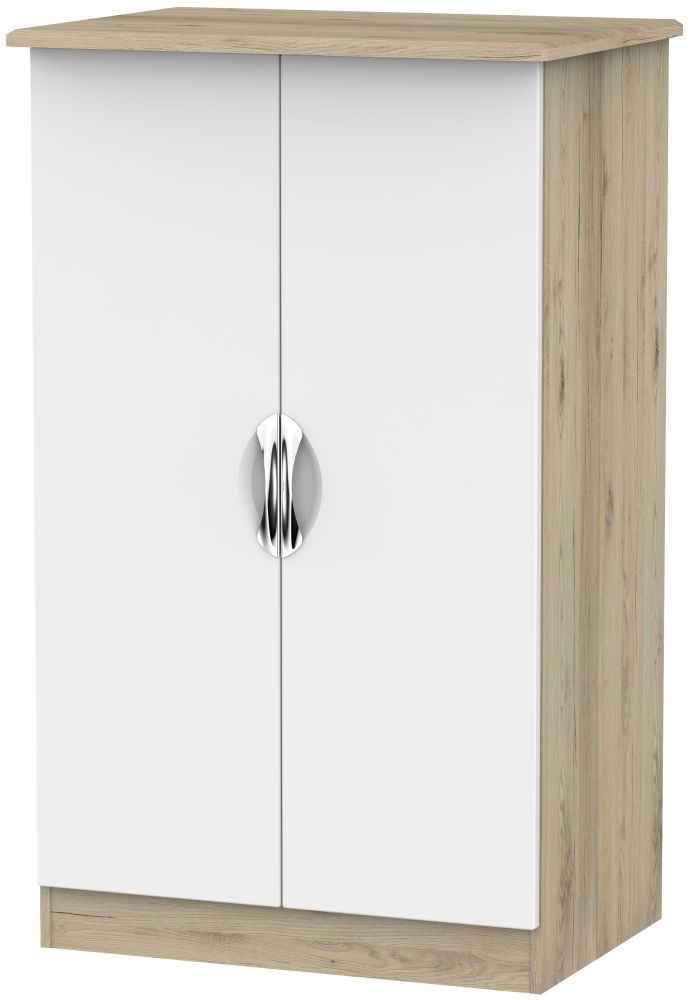 Camden 2 Door Plain Midi Wardrobe - White and Bordeaux