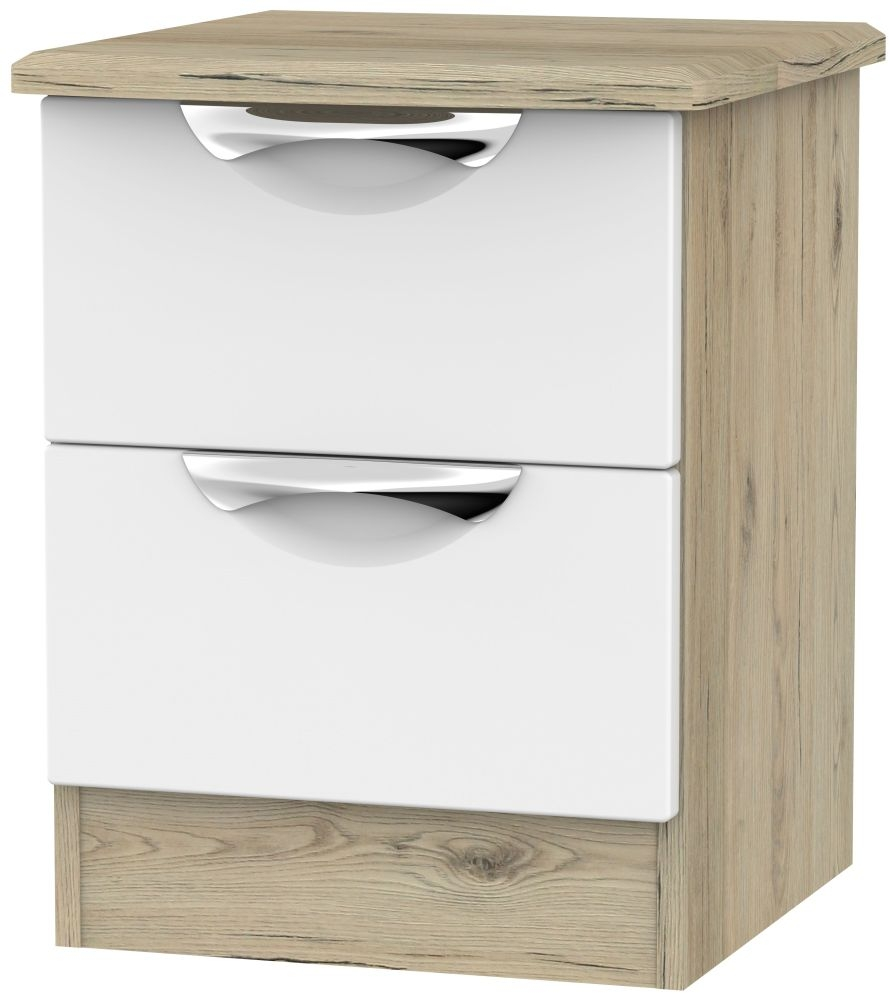 Camden 2 Drawer Bedside Cabinet - White and Bordeaux
